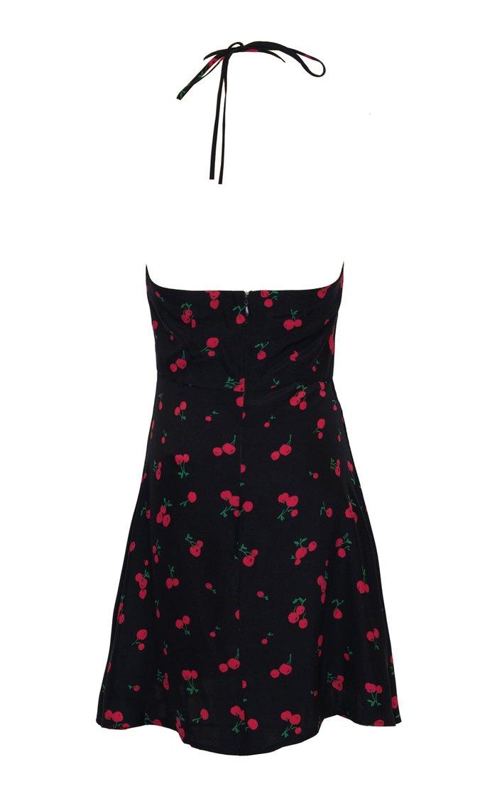 Reece Printed Silk Halterneck Mini Dress
