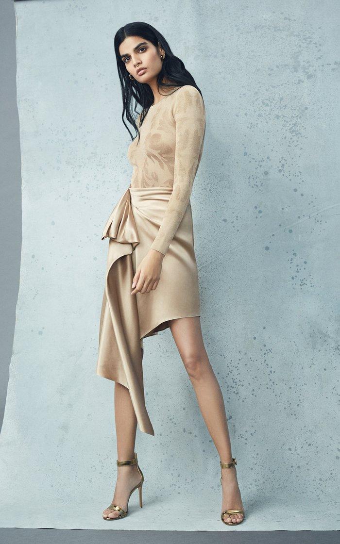 Asymmetric Draped Silk Charmeuse Skirt