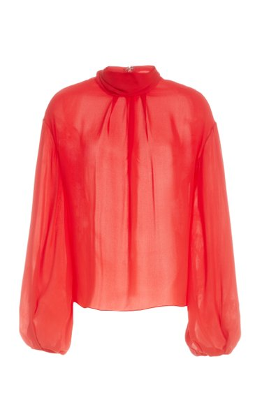 High Neck Silk Blouse