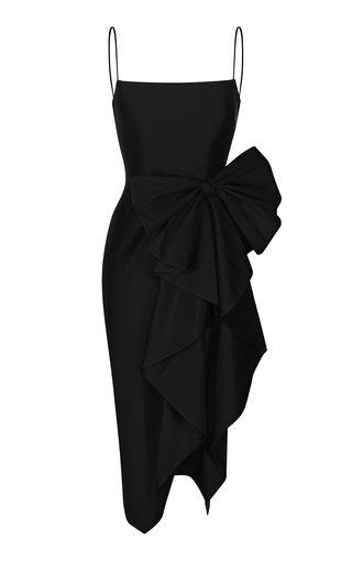 Draped Bow Silk Midi Dress