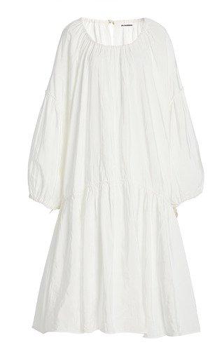 Nirvana Gathered Viscose-Linen Midi Dress