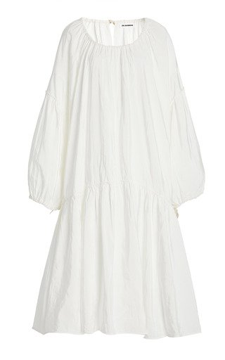 Nirvana Gathered Viscose-Linen Midi Dress