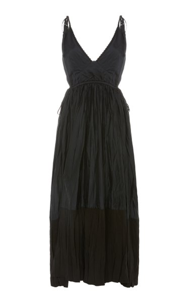 Namie Pleated Twill Midi Dress