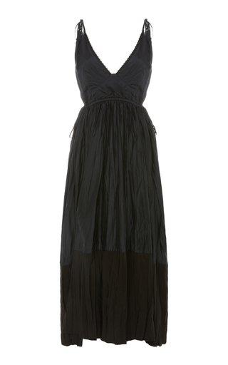 Namie Pleated Twill Midi Dress
