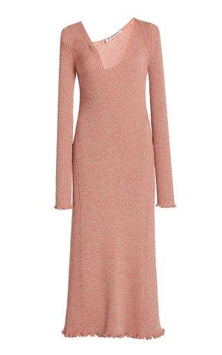 Asymmetric Neckline Ribbed Wool-Blend Dress