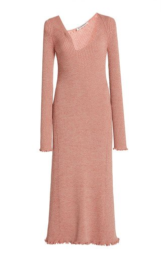 Asymmetric Neckline Ribbed Wool-Blend Dress
