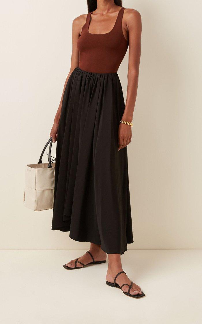 Nastya Pleated Linen Midi Skirt