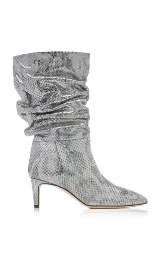 Slouchy Python-Effect Metallic Leather Calf-Length Boots