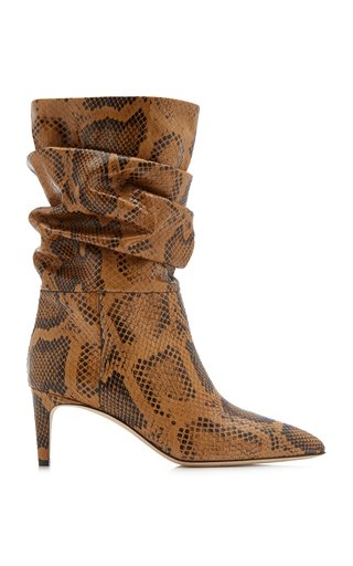 Slouchy Python-Effect Leather Calf-Length Boots
