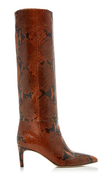 Paris Texas Python-Effect Leather Knee Boots