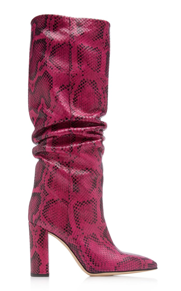 Slouchy Python-Effect Leather Knee Boots