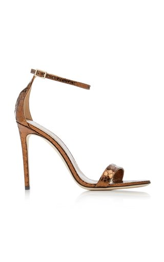Nudist Python-Effect Leather Sandals