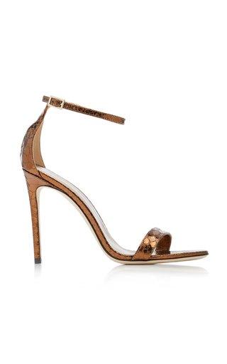 Nudist Python-Effect Leather Sandals