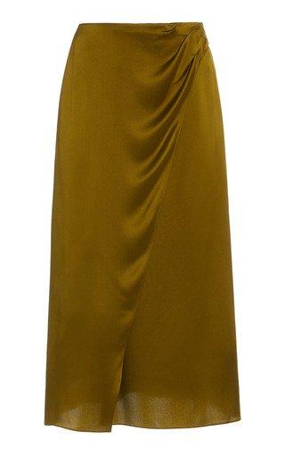Silk-Satin Wrap Skirt