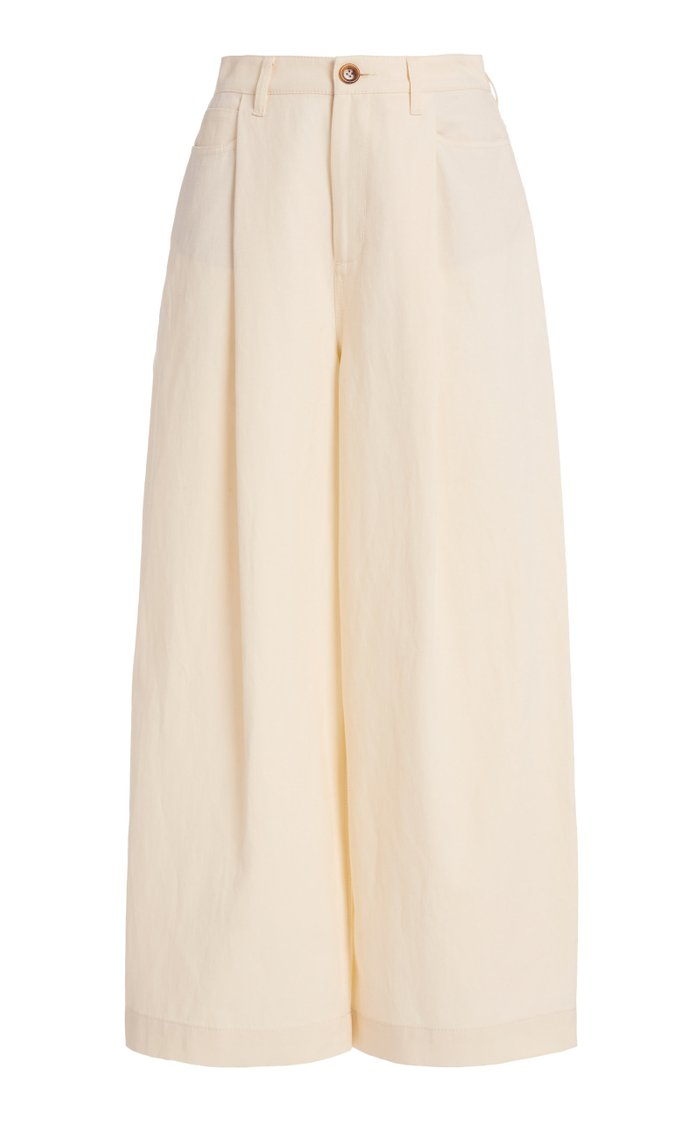 Mid-Rise Cotton-Blend Cropped Pants