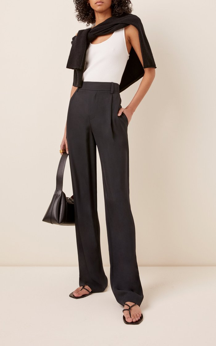 Stretch Crepe Wide-Leg Pants