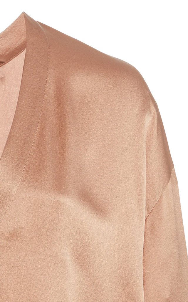 Silk-Satin V-Neck Top