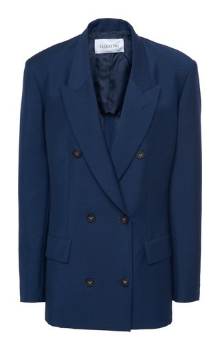 Oversized Mohair-Wool Double-Breasted Blazer