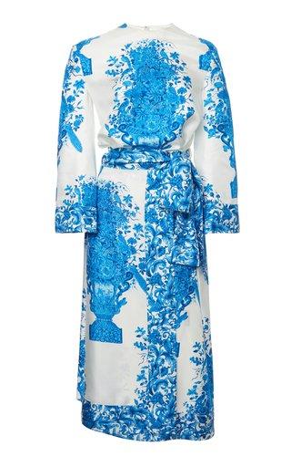Belted Grace-Print Twill Midi Dress