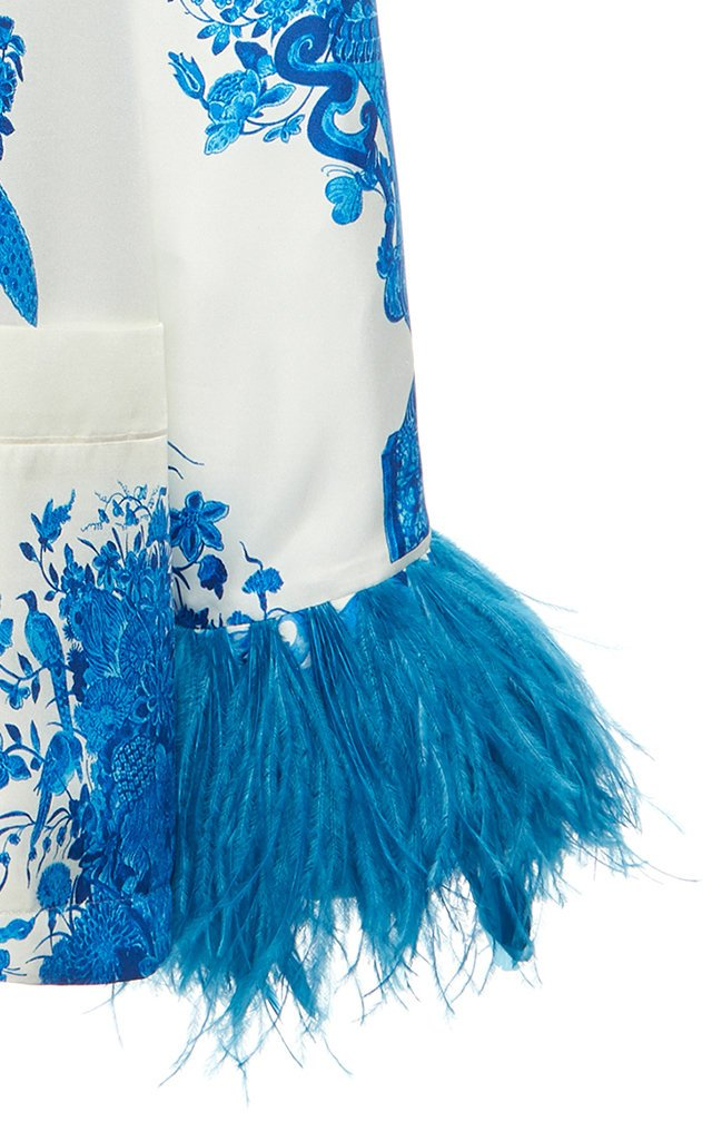 Feather-Trimmed Grace-Print Silk Top