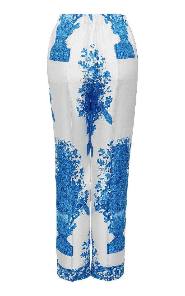 Grace-Print Silk Pants