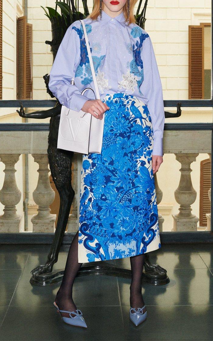 Grace-Print Wool-Silk Midi Skirt