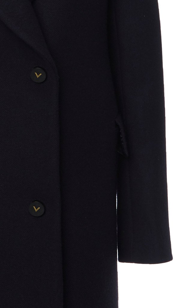 Logo-Detailed Double-Breasted Wool Melton Coat