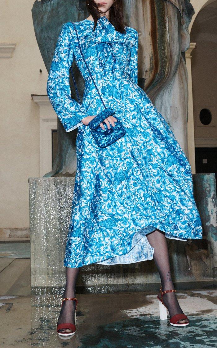 Grace-Print Silk Tie-Neck Midi Dress