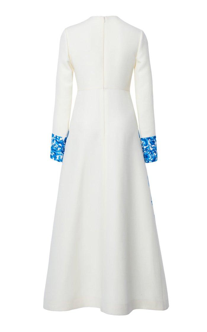 Grace-Print Wool-Silk Maxi Dress