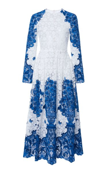 Grace-Print Cotton-Blend Guipure Lace Maxi Dress