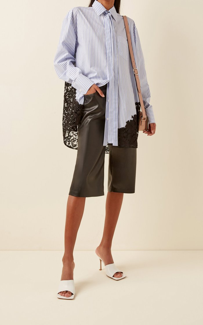 Oversized Lace-Detailed Striped Cotton Shirt