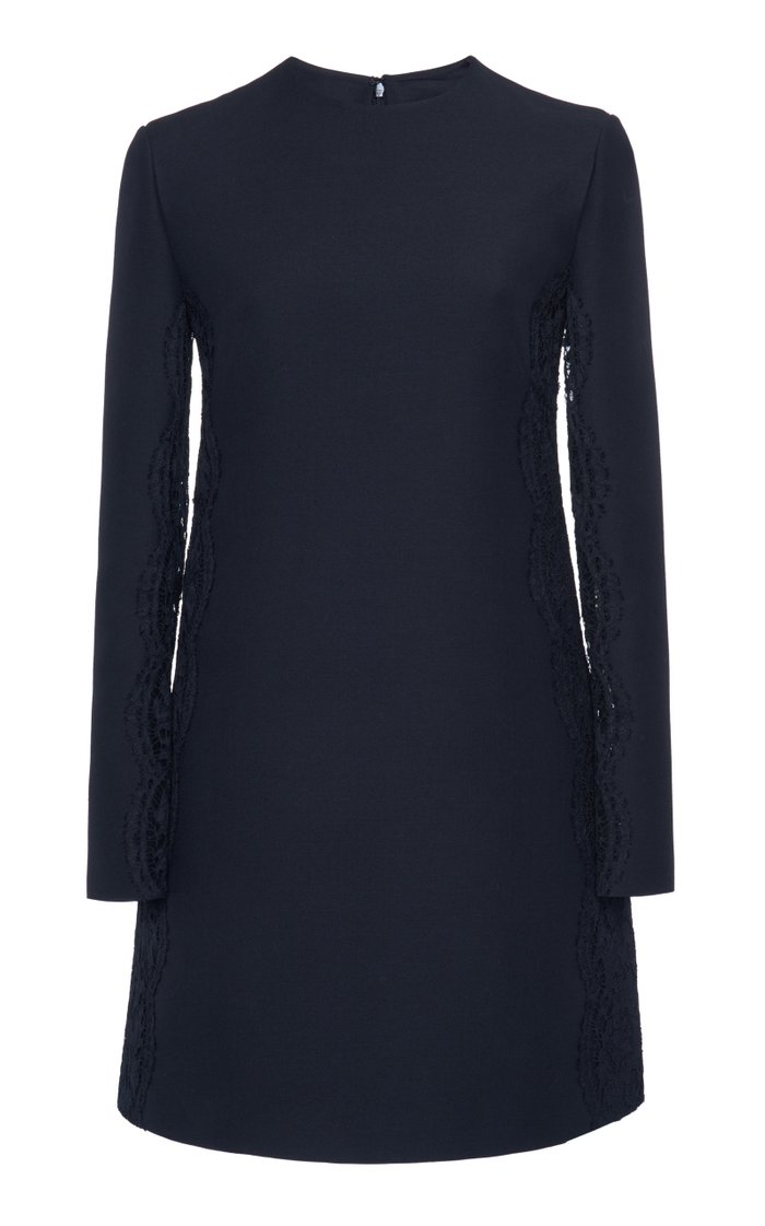 Lace-Trimmed Wool Silk Mini Dress