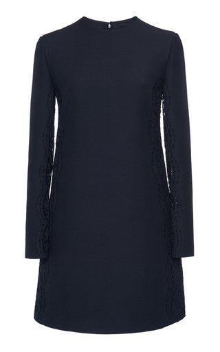 Lace-Trimmed Wool Silk Mini Dress