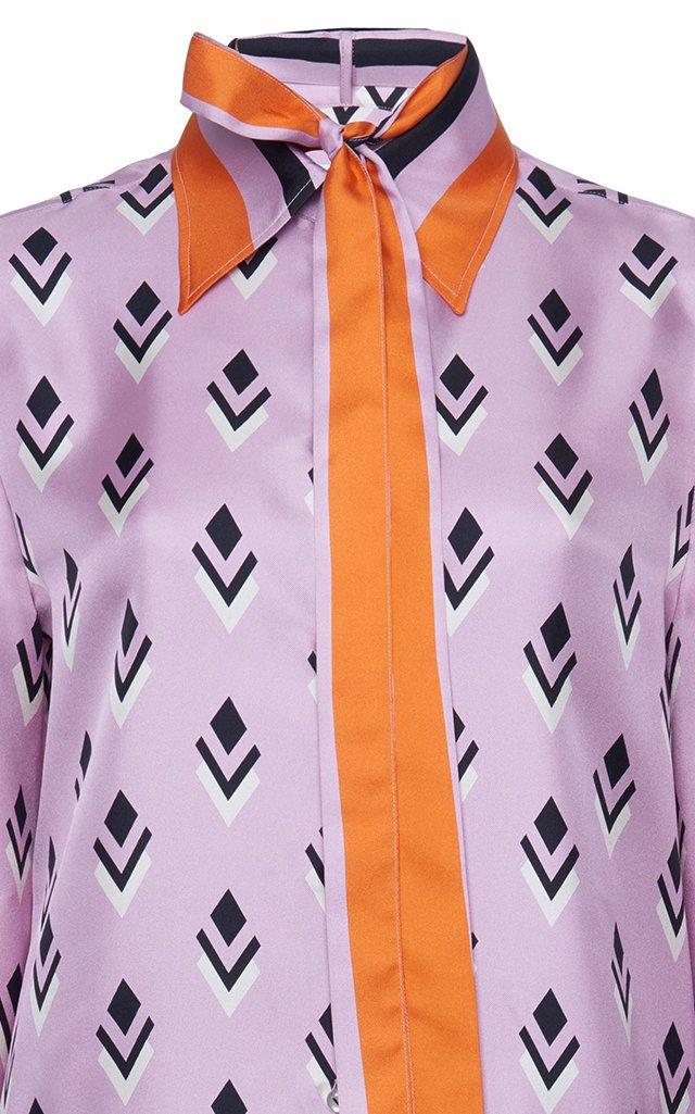Printed Silk Tie-Neck Top