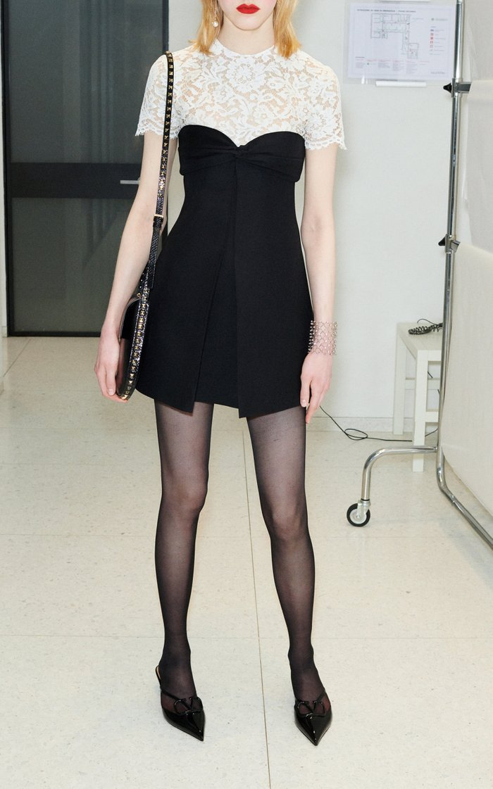 Lace-Inset Wool-Silk Mini Dress