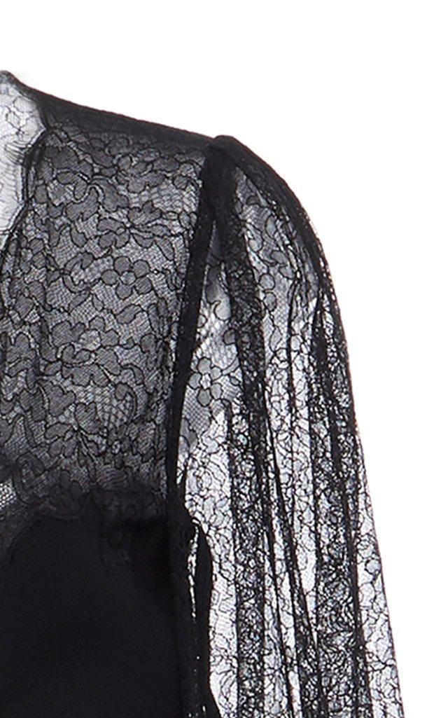Lace-Detailed Wool-Silk Maxi Dress