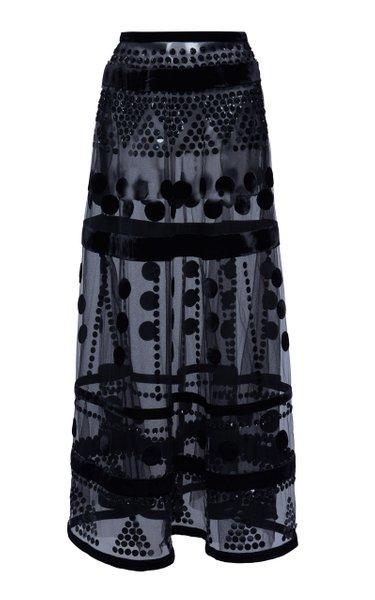 Sequin-Embellished Flocked Tulle Maxi Skirt