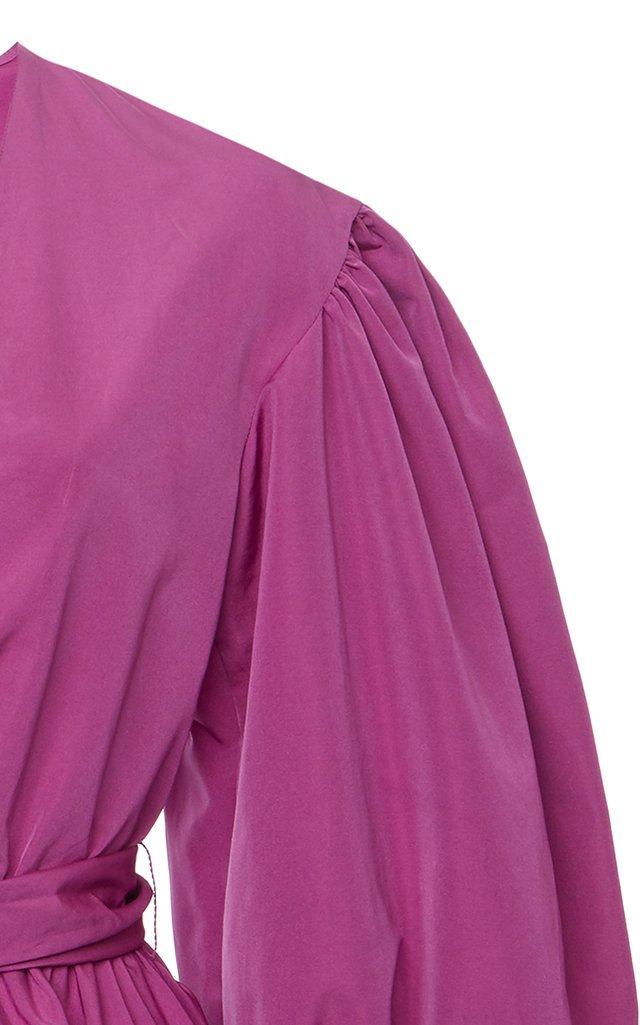 Cotton-Blend Faille Mini Wrap Dress