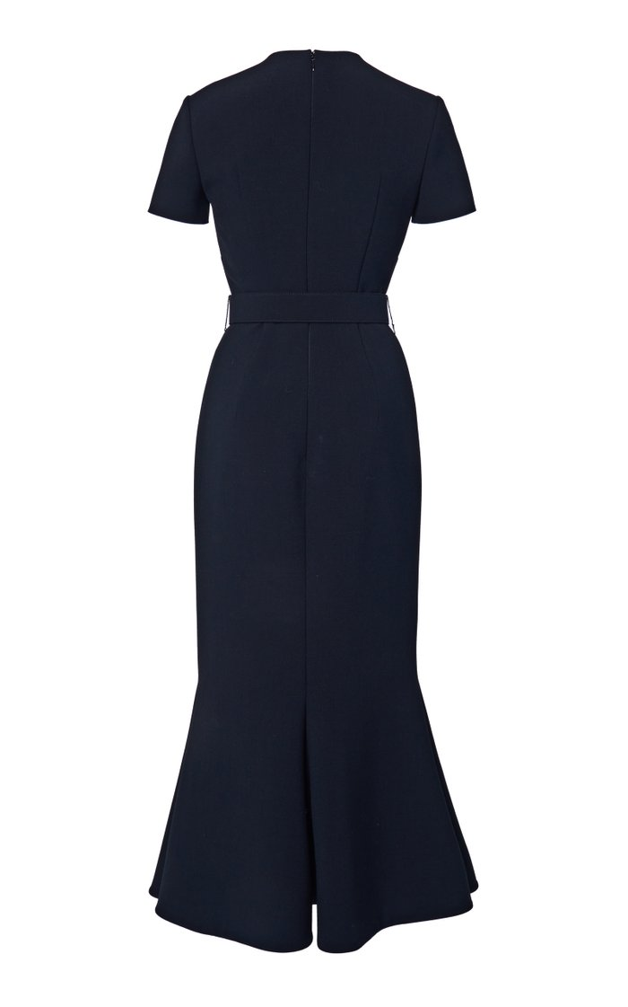 Belted Double-Faced Wool Midi Dress