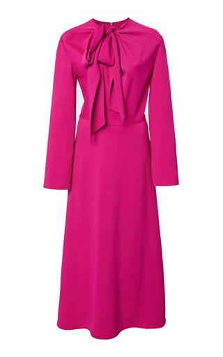 Crepe Tie-Neck Midi Dress