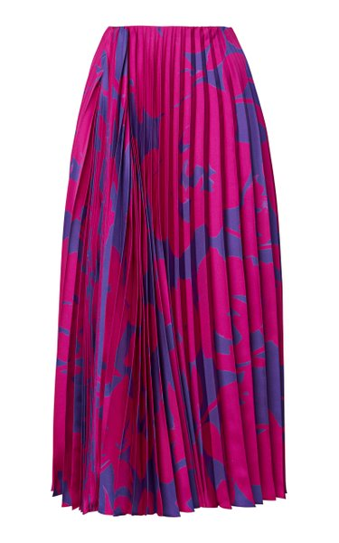Asymmetric Pleated Floral Silk Midi Skirt