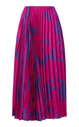 Asymmetric Pleated Floral Silk Midi Skirt