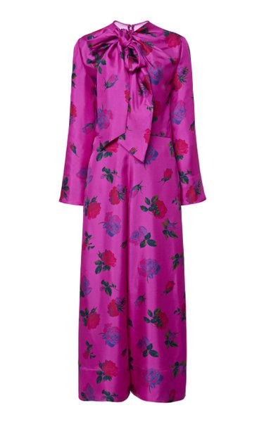 Pussy-Bow Floral Silk Jumpsuit