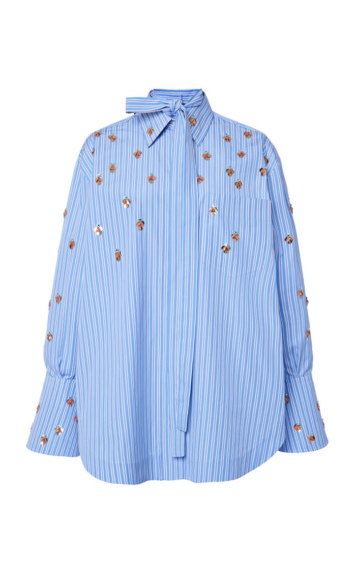 Oversized Embellished Striped Cotton Shirt