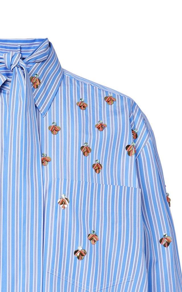 Oversized Embellished Striped Cotton Shirt