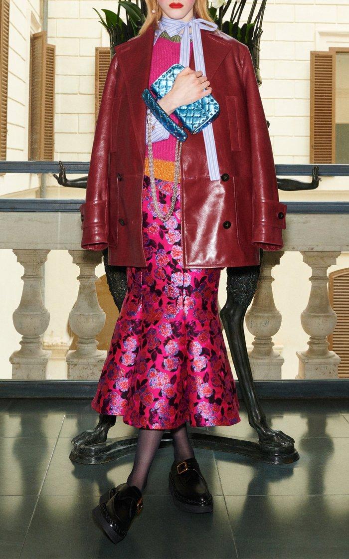 Metallic Floral Jacquard Flared Midi Skirt