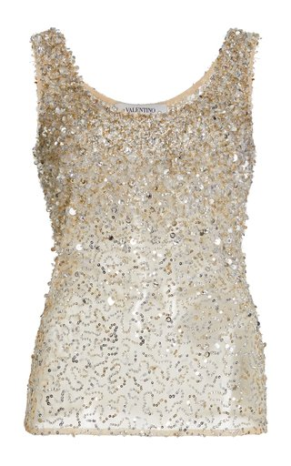 Sequined Cotton-Blend Tank Top