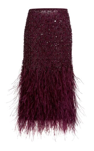 Sequined Feather-Embellished Shell Midi Skirt