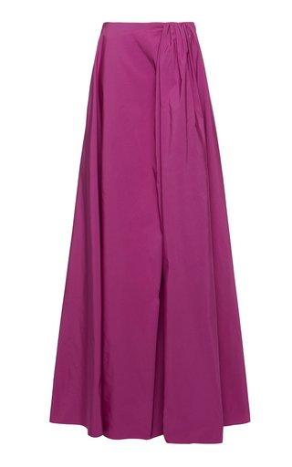 Pleated Cotton-Blend Faille Maxi Skirt