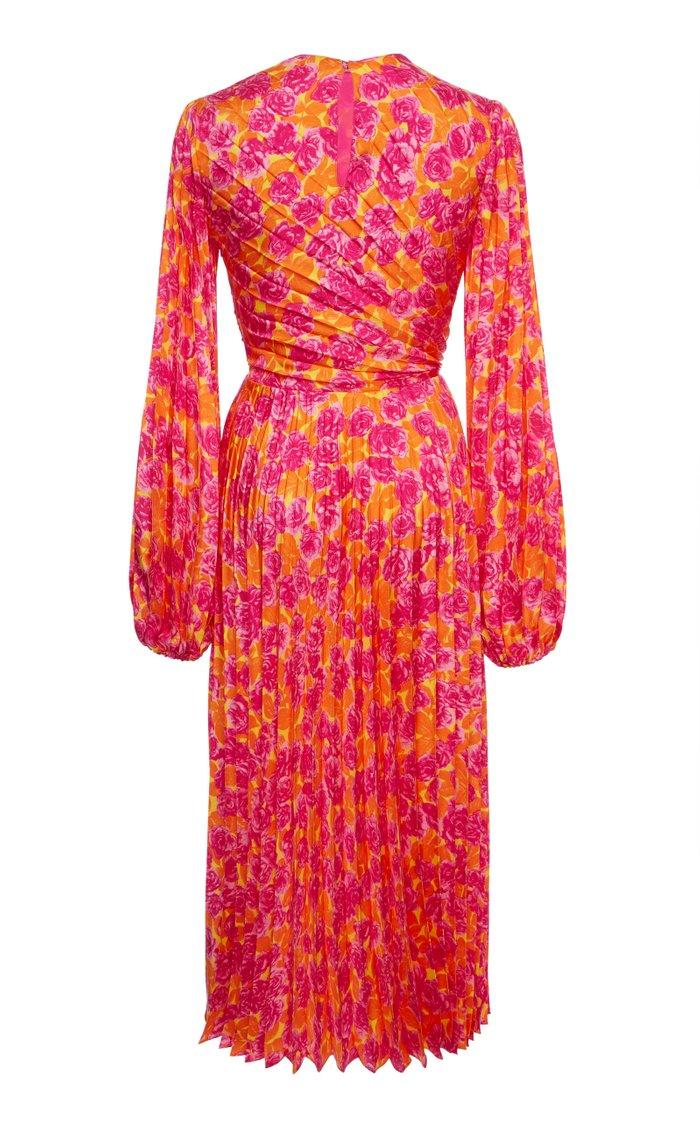 Pleated Floral Silk Midi Dress